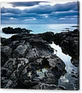 Volcanic Coastline And Cloudy Sunset Canvas Print