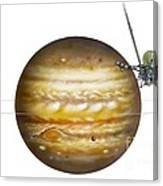 Voyager Spacecraft And Jupiter, Artwork Canvas Print