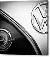 Vw Emblem Black And White Canvas Print
