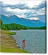 Wading In Johnson Lake In Banff Np-alberta Canvas Print