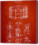 Waechtler Snare Drum Patent Drawing From 1910 - Red Canvas Print