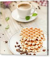 Waffles With Coffee Canvas Print