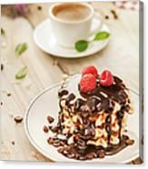 Waffles With Raspberry, Chocolate Sauce Canvas Print