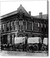 Wagon Train In Downtown Spokane - 1880 Canvas Print