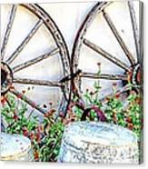 Wagon Wheel Flowers Canvas Print