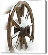 Wagon Wheel In Snow Canvas Print