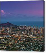Waikiki And Diamond Head At Sunset Canvas Print