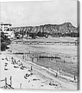 Waikiki Beach And Diamond Head Canvas Print