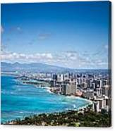 Waikiki Beach From Diamond Head Canvas Print