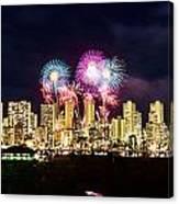 Waikiki Fireworks Celebration 2 Canvas Print