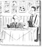 Waiter Reads The Specials To A Man At Dinner Canvas Print