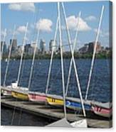 Waiting For Sailors On The Charles Canvas Print