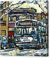 Waiting For The 80 Bus Montreal Memories Winter City Scene Painting January Art Carole Spandau Art Canvas Print