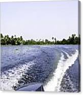 Wake From The Wash Of An Outboard Motor Boat In A Lagoon Canvas Print