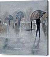 Walk In The Rain Canvas Print