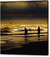 Walk In The Surf Colored Canvas Print
