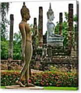 Walking And Sitting Buddha Images At Wat Sa Si In Sukhothai Historical Park-thailand Canvas Print