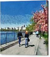 Walking Around Reservoir In Central Park Canvas Print
