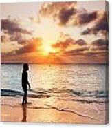 Walking At Sunset Canvas Print