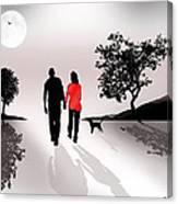 Walking By Moonlight Canvas Print