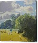 walking down by Borth River Canvas Print