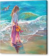 Walking In The Waves Canvas Print