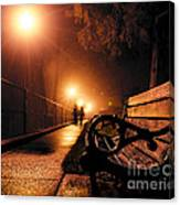 Walking On A Misty Evening Canvas Print