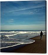 Walking On Seaside Beach Canvas Print