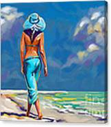 walking on the beach More Color Canvas Print