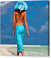 walking on the beach V Canvas Print