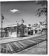 Walking On The Boardwalk In Black And White Walt Disney World Canvas Print