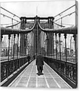 Walking On The Brooklyn Bridge Canvas Print
