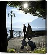 Walking On The Lakefront Canvas Print