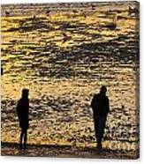 Strangers On A Shore - Walking Silhouettes Canvas Print
