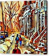 Walking The Dog By Balconville Winter Street Scenes Art Of Montreal City Paintings Carole Spandau Canvas Print