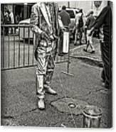Walking The Gator On Bourbon St. Nola Black And White Canvas Print