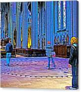 Walking The Indoor Labyrinth In Grace Cathedral In San Francisco-california Canvas Print