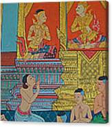 Wall Painting 2 In Wat Po In Bangkok-thailand Canvas Print