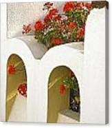 Wall With Red Flowers Canvas Print