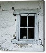 Wall With Small Blue Window Canvas Print