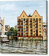 Wapping Thames Police Station And Rebuilt St Johns Wharf London Canvas Print