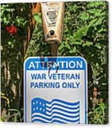 Veteran Parking Sign Canvas Print