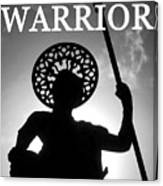 Warrior White Text Canvas Print