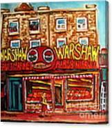 Warshaw's Bargain Fruit Store Rue St Laurent Montreal Paintings City Scene Art Carole Spandau Canvas Print
