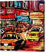 Warshaw's Bargain Fruits Store Montreal Night Scene Jewish Montreal Painting Carole Spandau Canvas Print