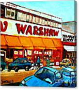 Warshaws Paintings Famous Fruit Store Main Street Montreal Art Prints Originals Commissions Cspandau Canvas Print