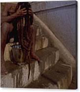 Varanasi Hair Wash Canvas Print