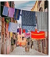 Washing Hanging Across Street, Venice Canvas Print