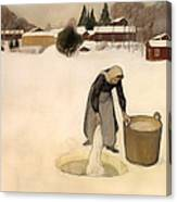 Washing On The Ice Canvas Print