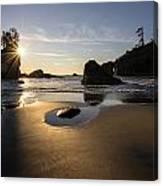 Washington Beach Sunstar Dusk Canvas Print